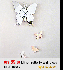 Mirror Butterfly Wall Clock