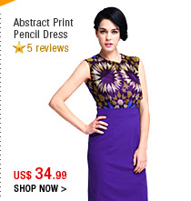 Abstract Print Pencil Dress