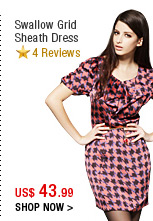 Swallow Grid Sheath Dress