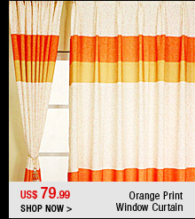 Orange Print Window Curtain