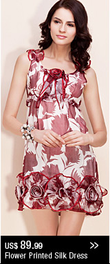 Flower Printed Silk Dress