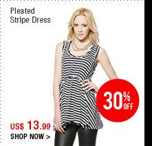 Pleated Stripe Dress