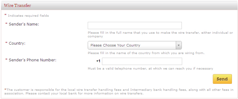 western union and wire transfer information
