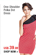 One-Shoulder Polka Dot Dress