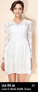 Lace V-Neck Ruffle Dress
