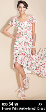 Flower Print Ankle-length Dress