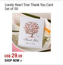 Lovely Heart Tree Thank You Card Set of 50