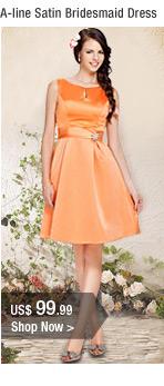 A-line Satin Bridesmaid Dress