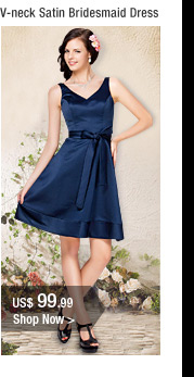 V-neck Satin Bridesmaid Dress