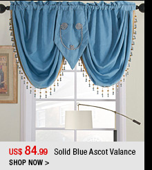 Solid Blue Ascot Valance