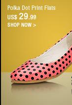Polka Dot Print Flats