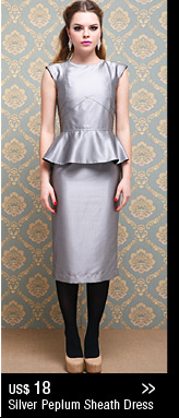 Silver Peplum Sheath Dress