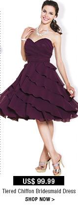 Tiered Chiffon Bridesmaid Dress