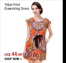 Tribal Print Drawstring Dress