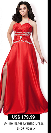 A-line Halter Evening Dress