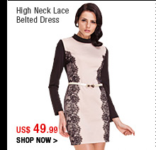 High Neck Lace Belted Dress