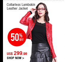Collarless Lambskin Leather Jacket
