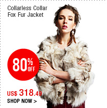 Collarless Collar Fox Fur Jacket