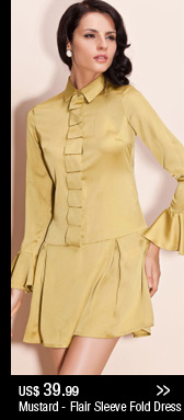 Mustard - Flair Sleeve Fold Dress