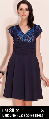 Dark Blue - Lace Splice Dress
