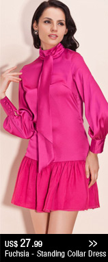 Fuchsia - Standing Collar Dress