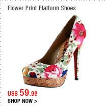 Flower Print Platform Shoes