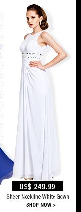 Sheer Neckline White Gown