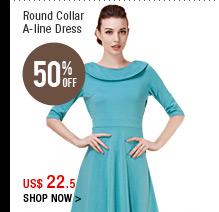 Round Collar A-Line Dress