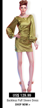 Backless Puff Sleeve Dress