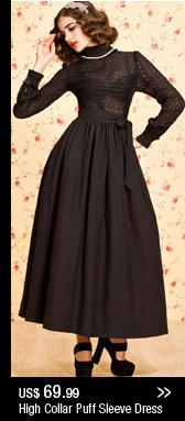 High Collar Puff Sleeve Dress
