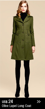 Olive Lapel Long Coat
