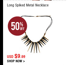 Long Spiked Metal Necklace