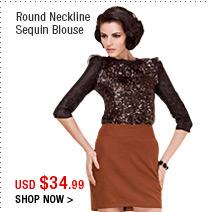 Round Neckline Sequin Blouse