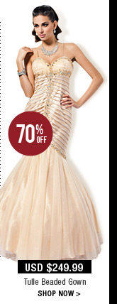 Tulle Beaded Gown