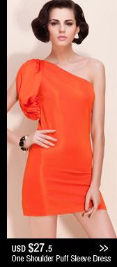 One Shoulder Puff Sleeve Dress