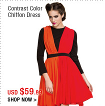 Contrast Color Chiffon Dress