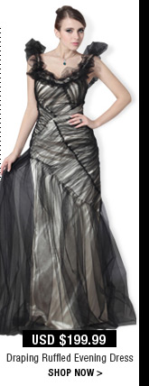 Draping Ruffled Evening Dress