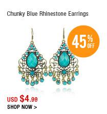 Chunky Blue Rhinestone Earrings