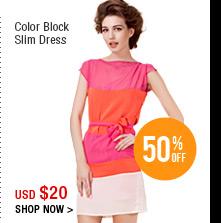 Color Block Slim Dress