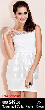 Sequinned Collar Peplum Dress