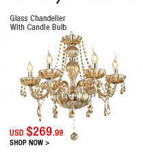 Glass Chandelier With Candle Bulb