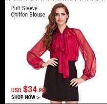 Puff Sleeve Chiffon Blouse