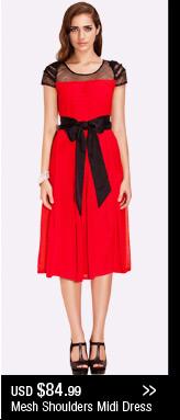 Mesh Shoulders Midi Dress