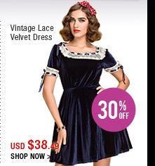Vintage Lace Velvet Dress