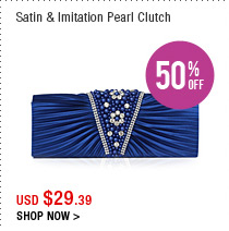 Satin & Imitation Pearl Clutch
