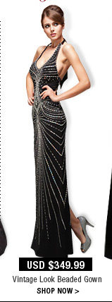 Vintage Look Beaded Gown