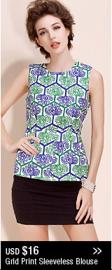 Grid Print Sleeveless Blouse