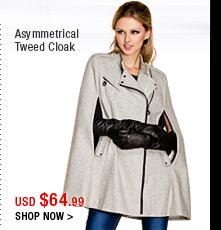 Asymmetrical Tweed Cloak