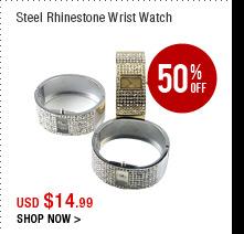 Steel Rhinestone Wrist Watch