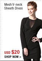 Mesh V-neck Sheath Dress